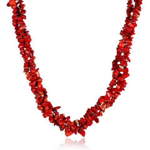 Hot Vintage Natural Stone Necklace RED