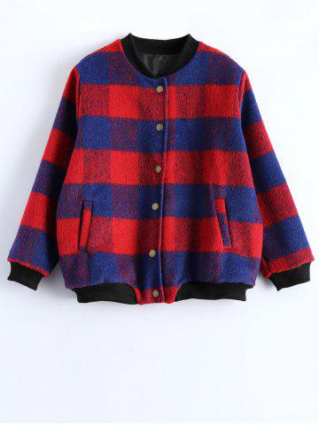 Cheap Button Up Plaid Jacket RED 5XL