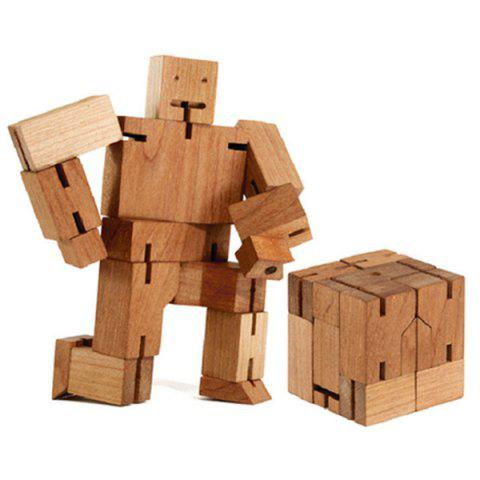 Creative Rubik's Cube Wooden 3D Handicraft Robot Model Toy - Wood