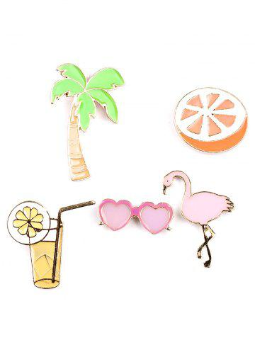 Discount Coconut Tree Orange Heart Glasses Brooch Set