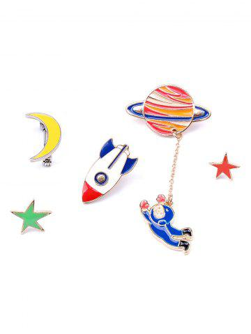 Star Moon Rocket Spaceman Брошь Set Красочный