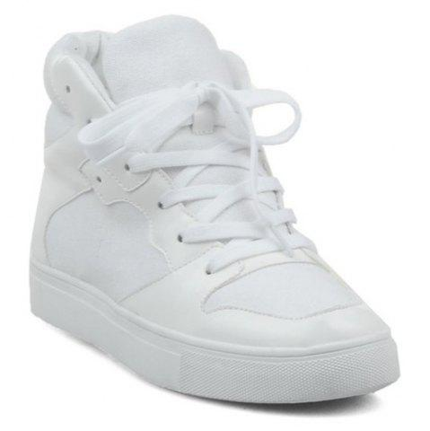 Shop Suede High Top Tie Up Athletic Shoes WHITE 39