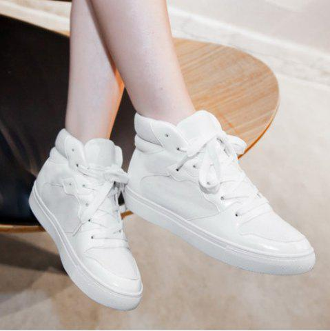 Sale Suede High Top Tie Up Athletic Shoes - 38 WHITE Mobile