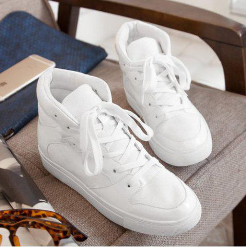 Chic Suede High Top Tie Up Athletic Shoes - 38 WHITE Mobile