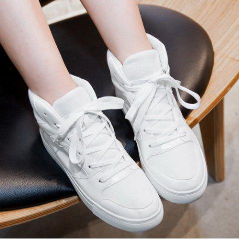 Cheap Suede High Top Tie Up Athletic Shoes - 38 WHITE Mobile