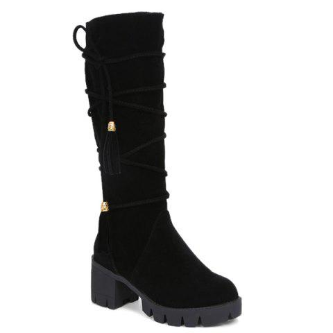 Affordable Lace Up Tassels Zipper Boots BLACK 39