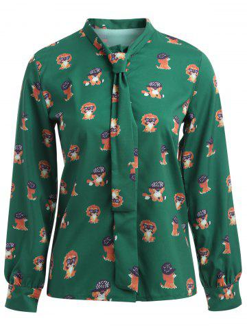 Pussy Bow Puppy Printed Shirt - Green - M