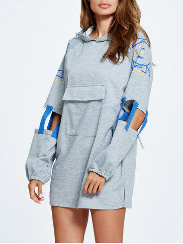 Chic Cut Out Side Slit Letter Print Hoodie GRAY ONE SIZE