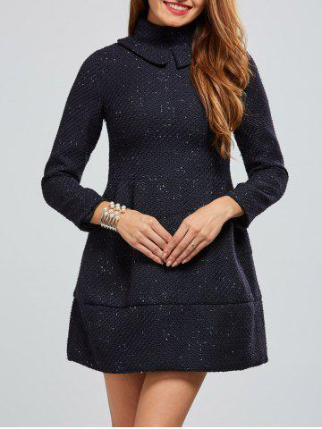 Hot Zip Back A Line Tweed Dress DEEP BLUE XL