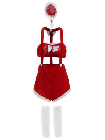 Two Piece Velvet Holiday Christmas Cosplay Costume - RED ONE SIZE