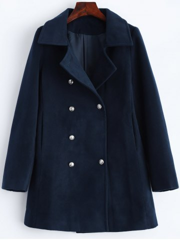 Unique Lapel Slimming Double Breasted Wool Blend Coat PURPLISH BLUE 2XL