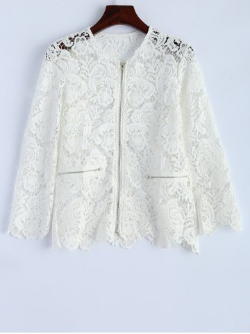 Fancy Openwork Zip Up Lace Jacket