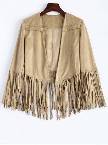 Outfits Fringed Faux Suede Open Front Jacket