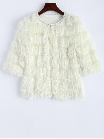 Discount Fringed Faux Fur Cropped Jacket