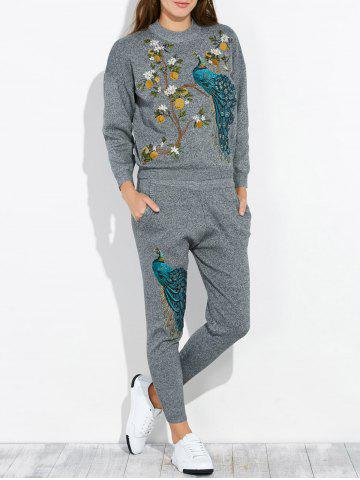 Online Peacock Embroidery Knit Top and Pants Set