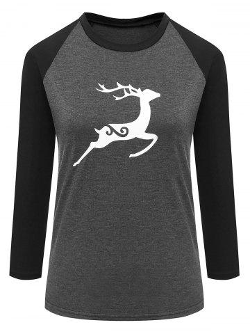 Latest Elk Printed Raglan Sleeve Baseball Tee