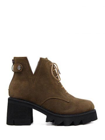Cheap Suede Slit Chunky Heel Boots DEEP BROWN 39