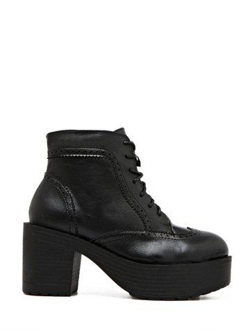 Sale Vintage Chunky Heel Engraving Ankle Boots