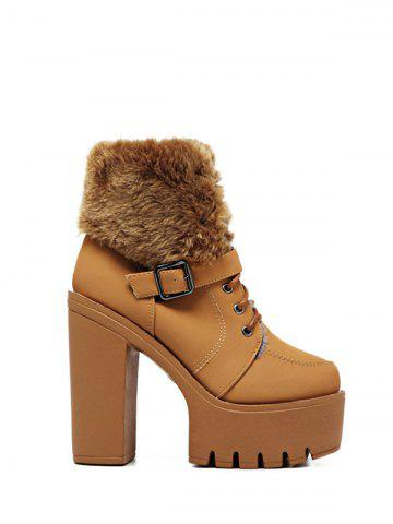 Shop Faux Fur Buckle Strap High Heel Boots