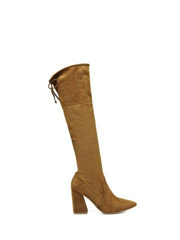Store Knee High Pointed Toe Chunky Heel Boots