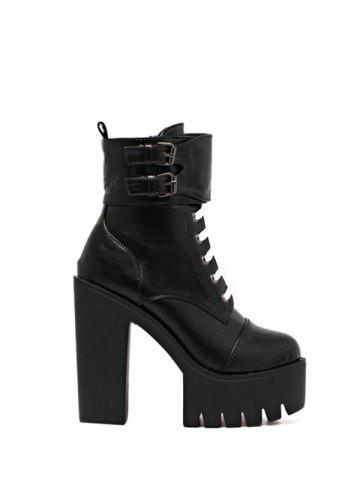Platform Buckle Straps High Heel Boots - Black - 39