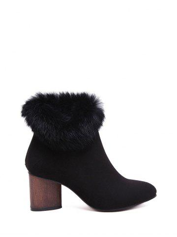 Buy Faux Fur Zipper Pointed Toe Ankle Boots - Black 38