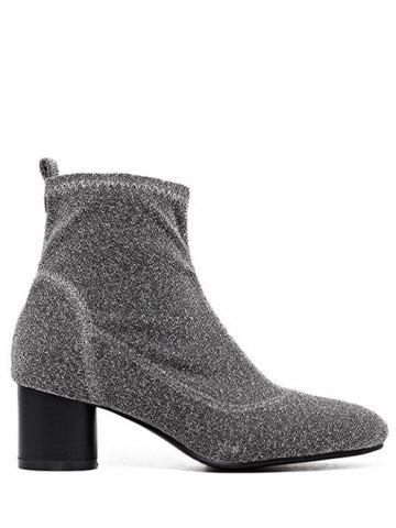 Trendy Glitter Round Toe Chunky Heel Ankle Boots