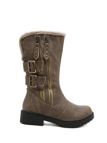 Buy Zippers Double Buckle Platform Mid Calf Boots - Khaki 38