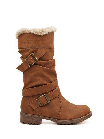 Affordable Double Buckle Flat Heel Mid Calf Boots