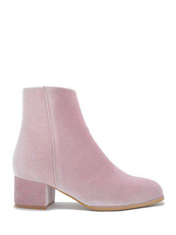 Online Chunky Heel Round Toe Zip Ankle Boots