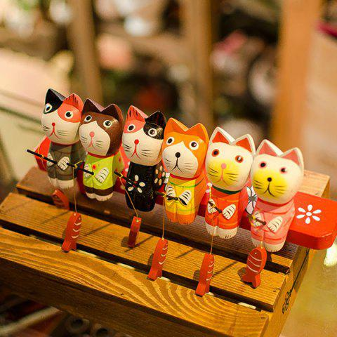 Best Fishing Cat Set Wooden Craft Furnishing Home Decoration COLORFUL