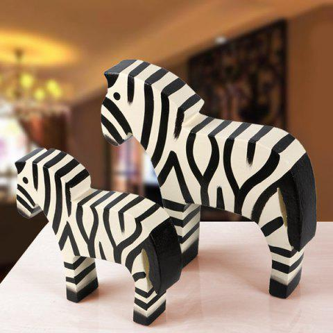 2PCS Zakka Nordic Craft Zebra Bois Décoration