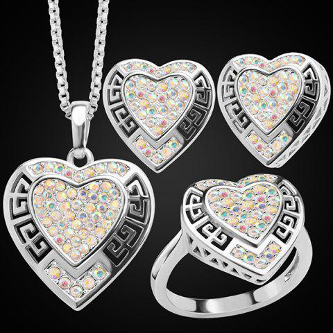Outfits Rhinestone Heart Hollowed Jewelry Set - SILVER  Mobile
