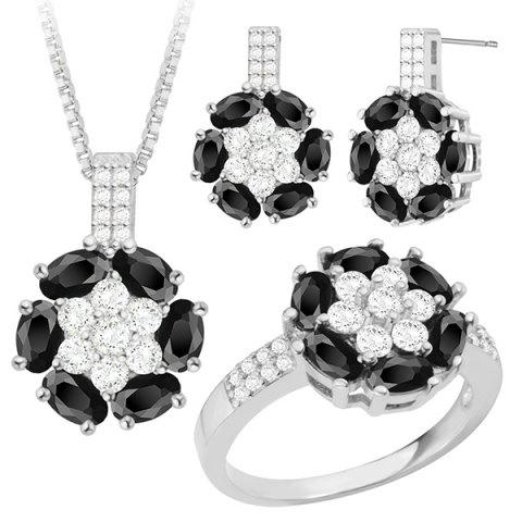 Outfits Rhinestone Faux Crystal Floral Jewelry Set