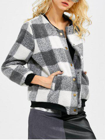 Buy Plaid Button Up Bomber Jacket BLACK/GREY 5XL