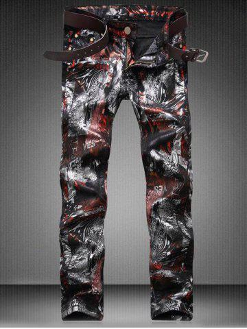 Chic Plus Size Zipper Fly Color Block Abstract Print Straight Leg Jeans
