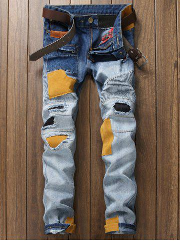 Trendy Plus Size Zipper Fly Rib and Holes Design Patch Narrow Feet Jeans