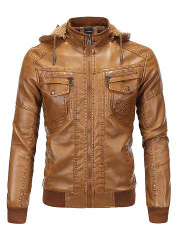 Buy Detachable Hooded Flocking PU Leather Thicken Jacket