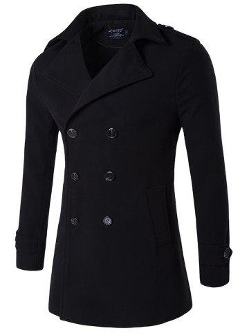New Plus Size Double Breasted Epaulet Woolen Blends Coat BLACK L