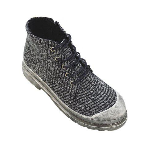Cheap Tie Up Knit Boots