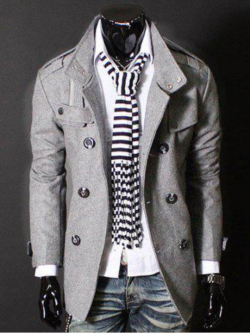 New Epaulet Zipper Design Double Breasted Wool Blends Coat LIGHT GRAY 3XL