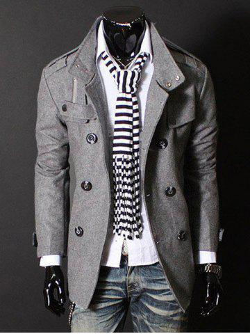 Outfits Epaulet Zipper Design Double Breasted Wool Blends Coat DEEP GRAY L