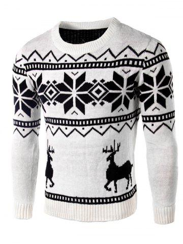 Latest Deer and Snowflake Pattern Long Sleeve Sweater WHITE 2XL