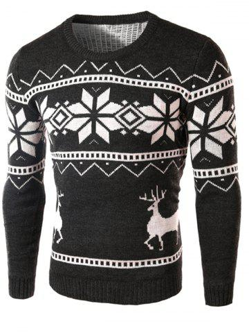 Deer and Snowflake Pattern Long Sleeve Sweater - Deep Gray - M
