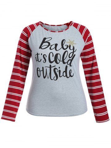 Chic Raglan Sleeve Striped Letter Print Tee GRAY S