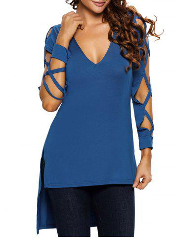 Discount Hollow Out Asymmetrical Side Slit Tee BLUE L