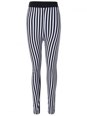 Outfit Striped Print Skinny Pants WHITE AND BLACK ONE SIZE