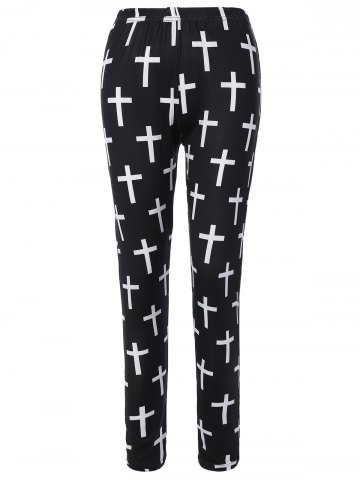 Discount Cross Patterned Pants WHITE AND BLACK ONE SIZE