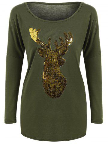 Shops Deer Pattern Christmas Long Sleeve T-Shirt ARMY GREEN L