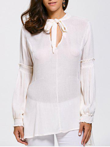 Cheap Lace Up High Tow Openwork Blouse WHITE 2XL
